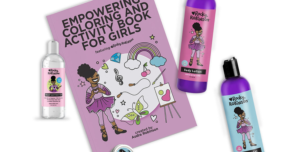 Girl Power Super Set with bottles of body lotion, shower gel, and hand sanitizer, lip balm, and coloring book