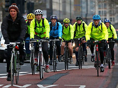 Commuter cyclists on road