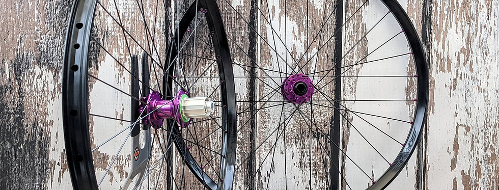 "Halo Gravitas 27.5"" Hope Pro4 Purple  non-boost Handbuil Wheels"