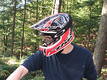 Man wearing full face bike helmet