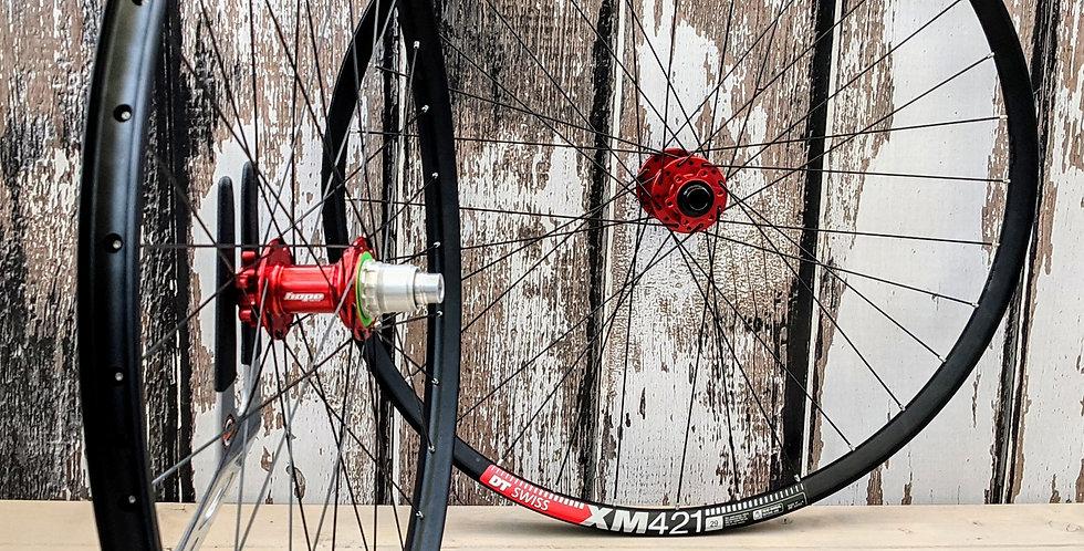 "DT Swiss XM421 29"" / Red Hope Pro 4 Boost Handbuilt Wheels"