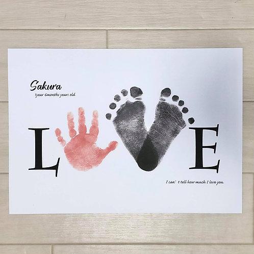 【zoomレクチャー付き】手形足形アート作成キット「LOVE」(あなただけのオリジナル台紙付き)