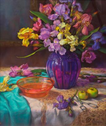 Iris- Pink, Yellow and Blue by Carol P. Harding