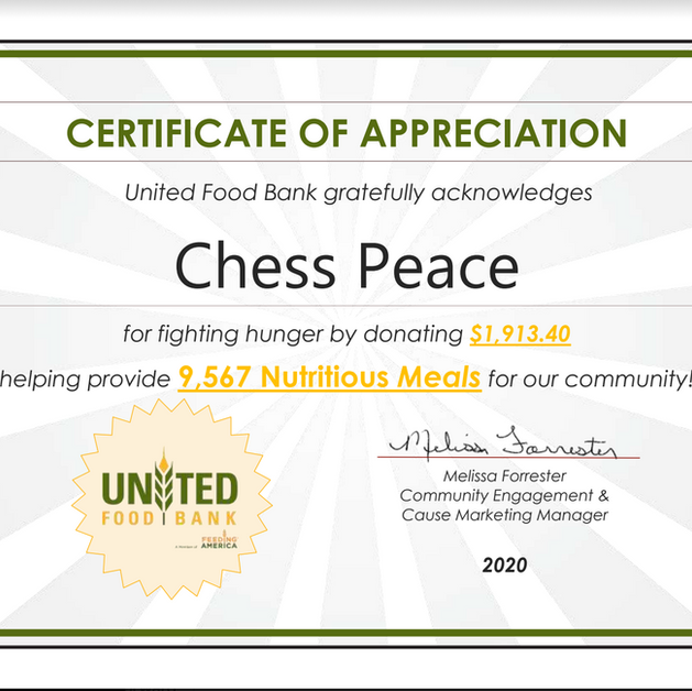 Recognition from the United Food Bank
