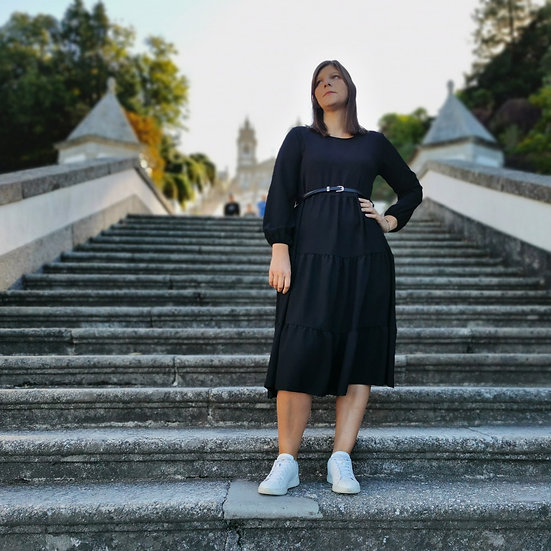 Vestido midi manga comprida