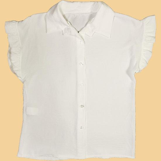 Camisa caveada lisa com folho na manga