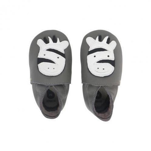 Chaussons en cuir soft soles - Zebra grey ☆ BOBUX