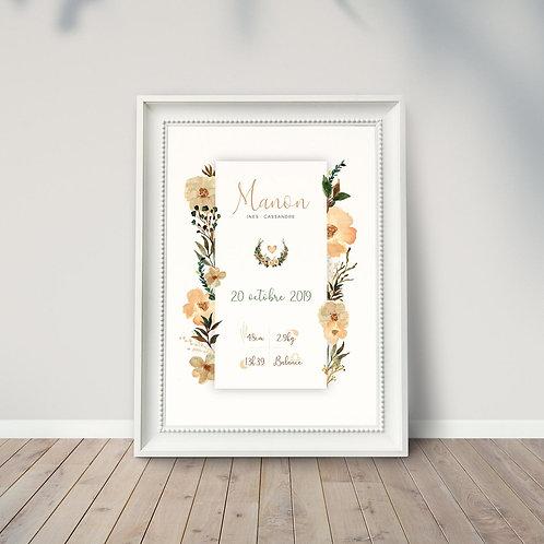 """Affiche naissance """"fleurs"""" ☆ LA PÉPITE GRAPHIK"""