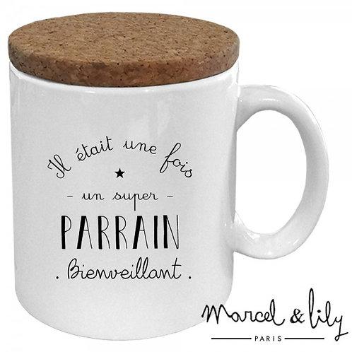"""Mug avec son couvercle en liège """"Parrain"""" ☆ MARCEL & LILY"""