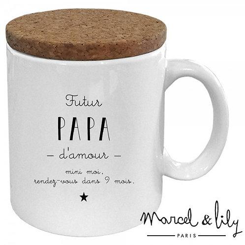 "Mug avec son couvercle en liège ""Futur Papa"" ☆ MARCEL & LILY"
