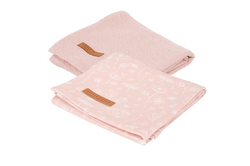 Langes Swaddles Wild Flowers Pink/Pure Pink ☆ LITTLE DUTCH