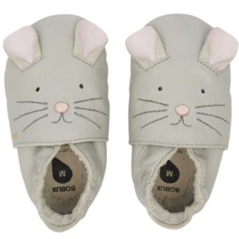 Chaussons en cuir soft soles - souris ☆ BOBUX
