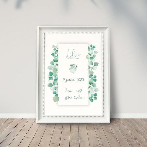 """Affiche naissance """"eucalyptus"""" ☆ LA PÉPITE GRAPHIK"""