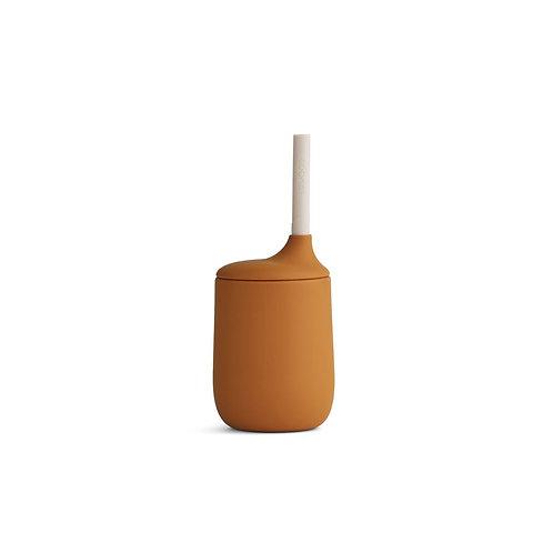 Gobelet avec paille Ellis en silicone Mustard/Sandy mix  ☆ LIEWOOD