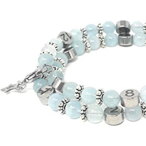 """Bracelet allaitement pierres précieuse """"aigue-marine"""""""""""""""