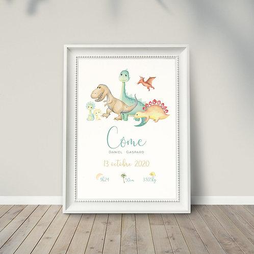 """Affiche naissance """"Dinosaures"""" ☆ LA PÉPITE GRAPHIK"""