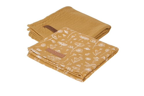 Langes Swaddles Wild Flowers Ochre/Pure Ochre ☆ LITTLE DUTCH