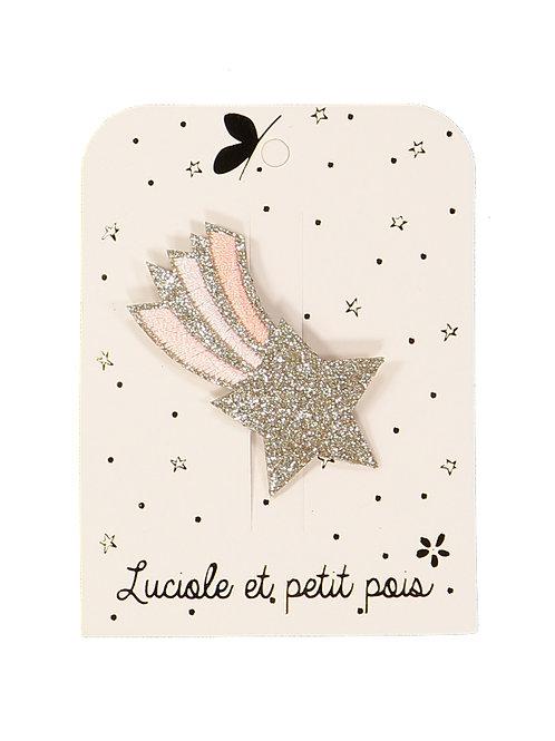 Barrette étoile filante brodée rose ☆ LUCIOLE ET PETIT POIS