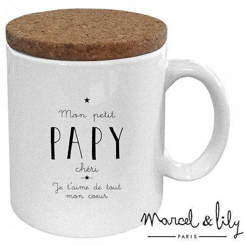 "Mug avec son couvercle en liège ""Mon petit Papy chéri"" ☆ MARCEL & LILY"