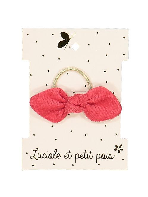 Elastique mini noeud velours framboise ☆ LUCIOLE ET PETIT POIS