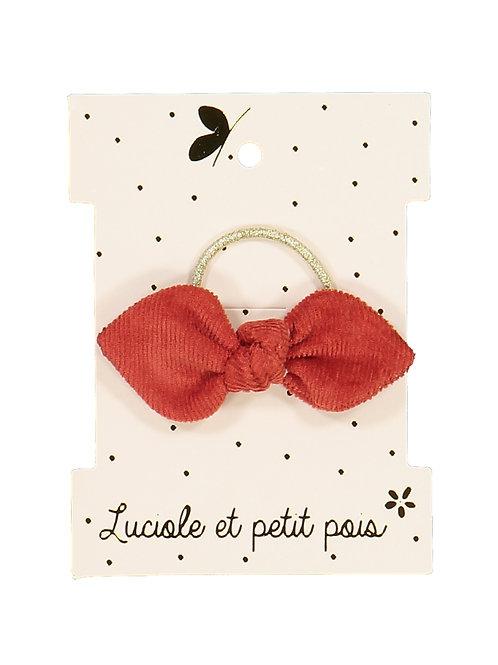 Elastique mini noeud velours caramel ☆ LUCIOLE ET PETIT POIS
