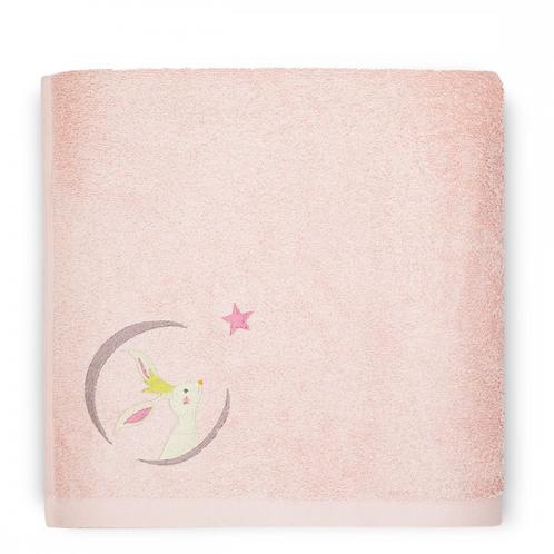 Serviette de bain Rose poudré Lapin ☆ L'OISEAU BATEAU