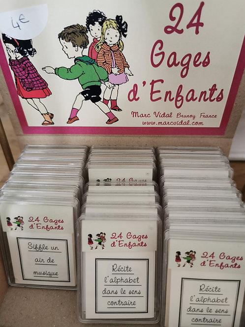 """Petites cartes """"24 gages d'enfants"""""""