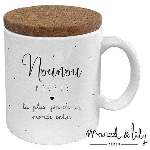 "Mug avec son couvercle en liège ""Nounou adorée"" ☆ MARCEL & LILY"