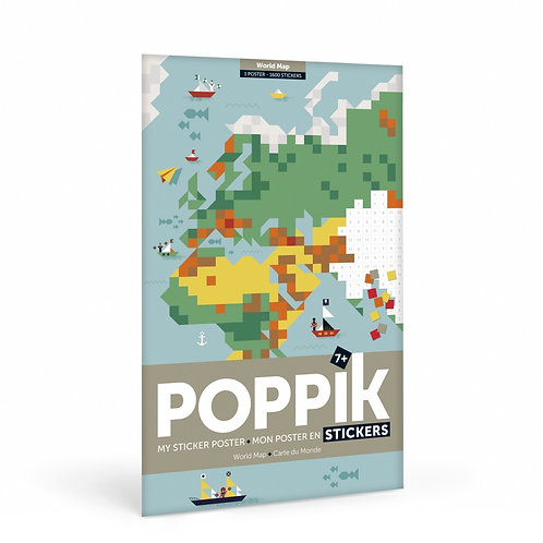Stickers carte du monde POPPIK