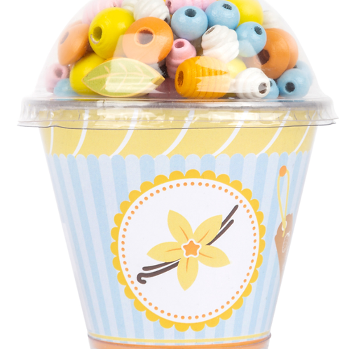 Cupcake perles de bois vanille