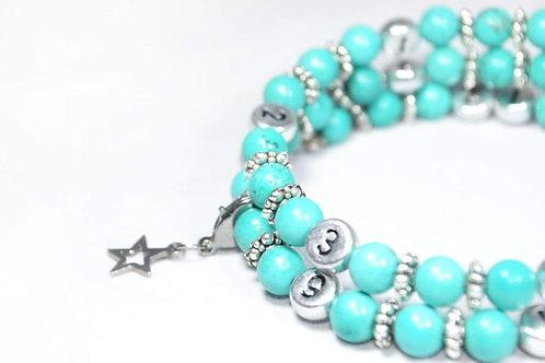 Bracelet allaitement pierres précieuses turquoises