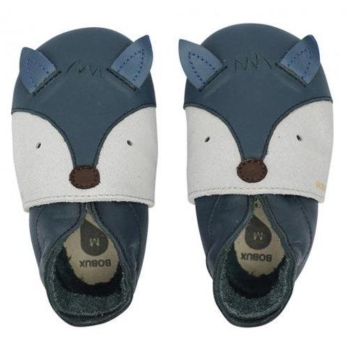 Chaussons en cuir soft soles - Foxy Navy ☆ BOBUX