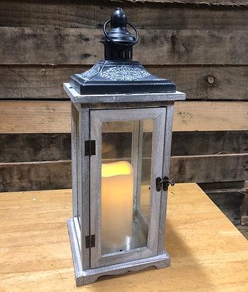 Large Gray Wooden Lantern