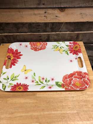 Floral Plastic Serving Dish