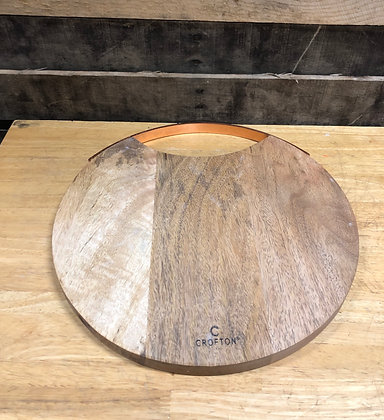 Wooden Cutting Board with Copper Handle