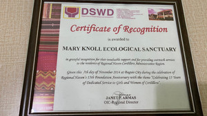 DSWD Recognizes Maryknoll Ecological Sanctuary 2014