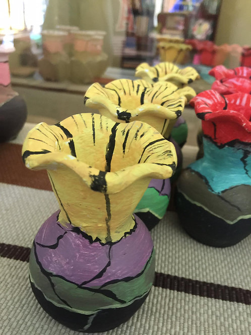 CLAY POTS - COMBO(Yellow, Violet, Green)