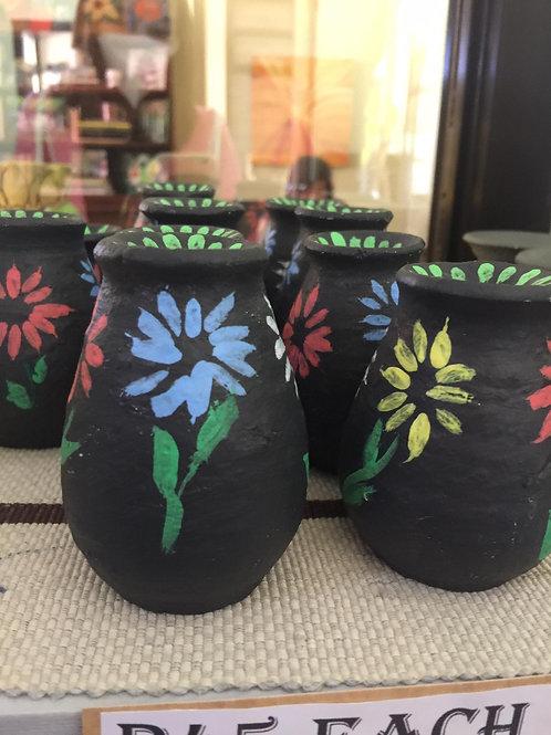 CLAY POTS - Black Floral