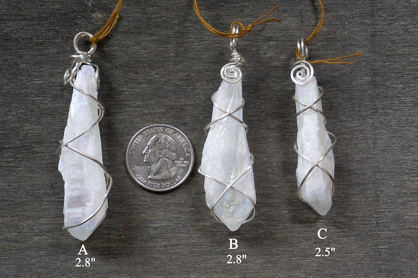 Angel Aura Raw Quartz W/ Sterling Silver