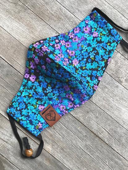 Blue/ Turquoise Flowers Mask