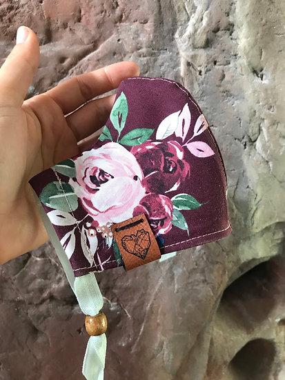 Maroon Flower Mask