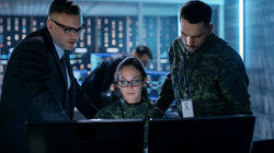 Government-Surveillance-Agency-and-Military-Joint-Operation.-Male-Agent,-Female-and-Male-Military-Of