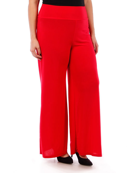 Solid Red Palazzo Pants