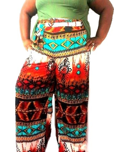 Tye Palazeo Pants Multi Color Print