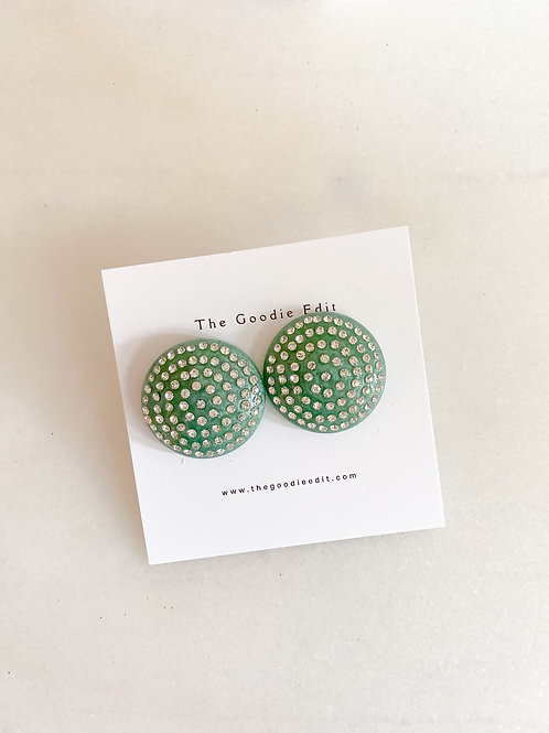 Sea-foam Swarovski Button Stud Earrings