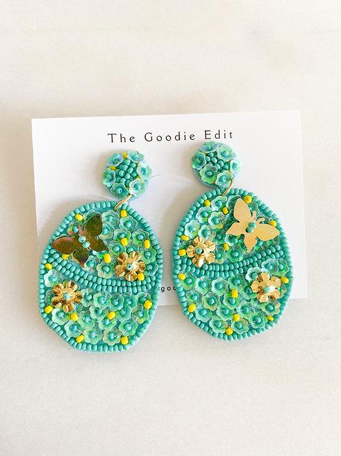 Beaded Turquoise Easter Egg Earrings