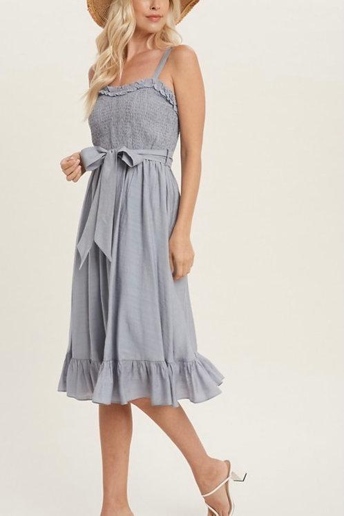 Ruffled Chambray Midi Dress