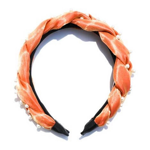 Pearl Braided Headband (Peach)