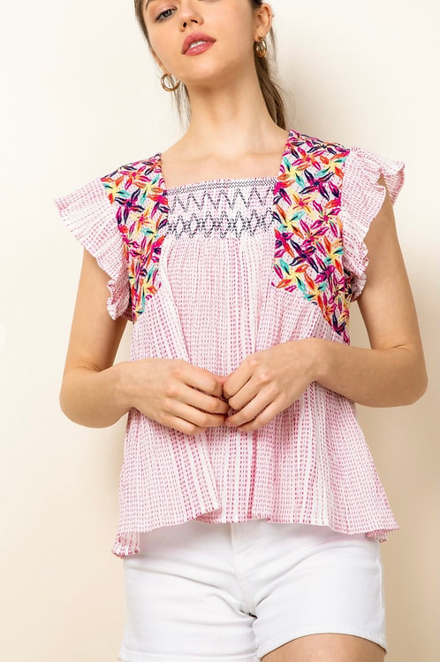 Smocked Embroidered Inset Top