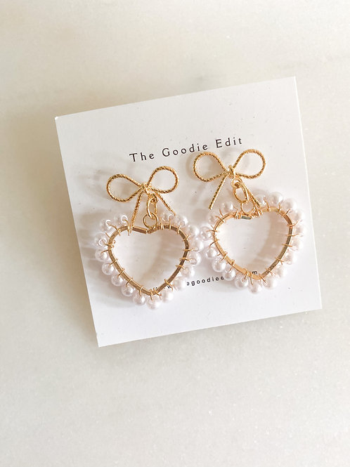Pearl Heart with Bow Earrings